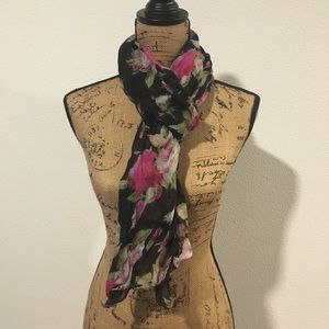 Black Scarf with Flowers